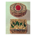Top: Gold snuffbox inlaid with various stones Postcard