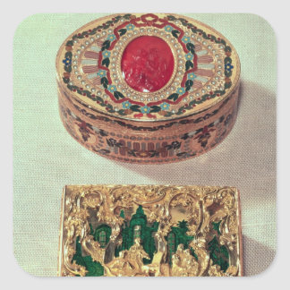 Top: Gold snuffbox inlaid with various stones Square Sticker
