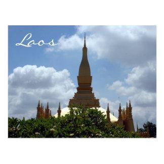 top golden stupa laos postcard