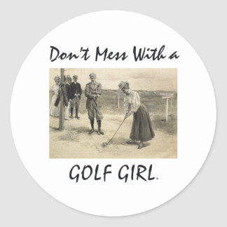 TOP Golf Girl Classic Round Sticker