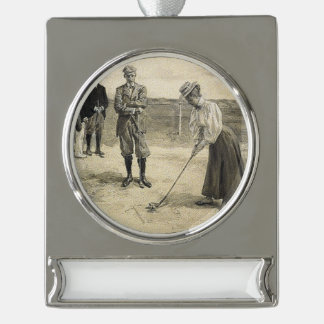 TOP Golf Girl Silver Plated Banner Ornament