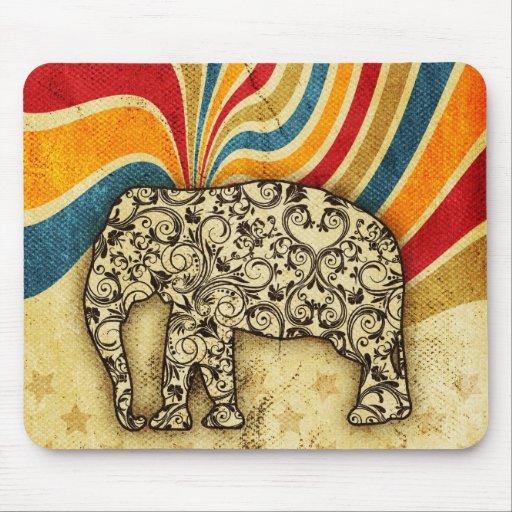 Top grande del elefante del circo del vintage alfombrilla de ratones