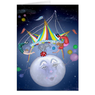 Top grande en la tarjeta de la luna