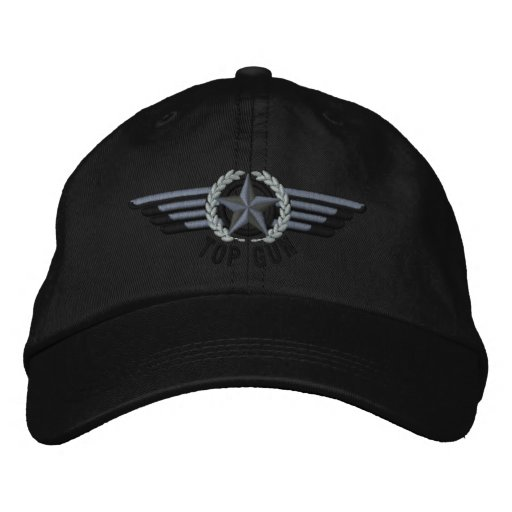 Top Gun Aviation Star Laurels Pilot Wings Embroidered Baseball Hat ... 4f61a0b5b5f