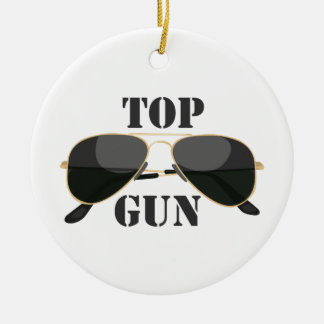 Top Gun Double-Sided Ceramic Round Christmas Ornament