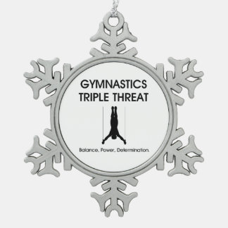 TOP Gymnastics Triple Snowflake Pewter Christmas Ornament