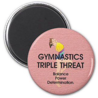 TOP Gymnastics Triple Threat (W) 2 Inch Round Magnet