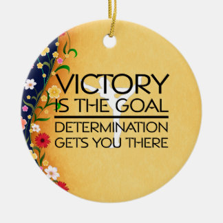 TOP Gymnastics Victory Slogan Double-Sided Ceramic Round Christmas Ornament