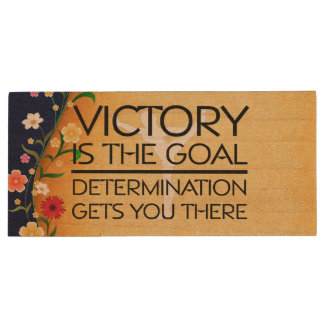 TOP Gymnastics Victory Slogan Wood USB Flash Drive