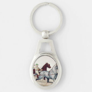 TOP Harness Racing Silver-Colored Oval Metal Keychain