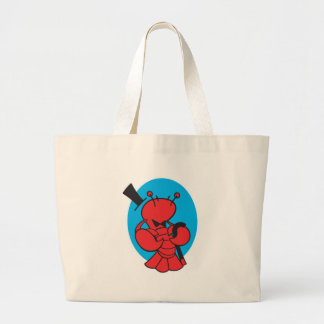 top hat and bowtie lobster large tote bag