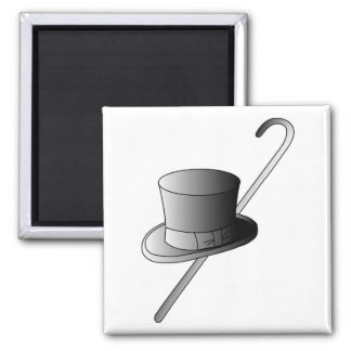 Top Hat and Cane 2 Inch Square Magnet