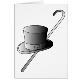 Top Hat and Cane Card