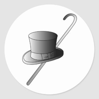 Top Hat and Cane Classic Round Sticker