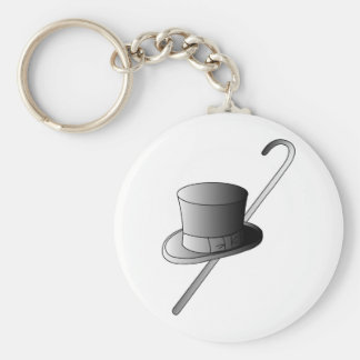 Top Hat and Cane Keychain