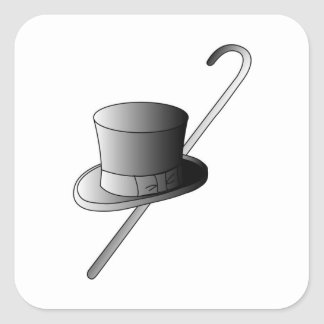 Top Hat and Cane Square Sticker