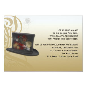 top hat and fireworks new years eve party invitation