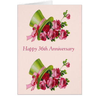 36th Wedding Anniversary Gift For Husband : Top hat and flowers, Happy 36th Anniversary Card