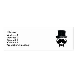 Top Hat and Mustache Double-Sided Mini Business Cards (Pack Of 20)