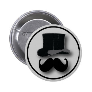 Top Hat and Mustache Button