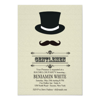 Top Hat and Mustache Invitation