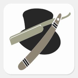 Top hat and razor sticker