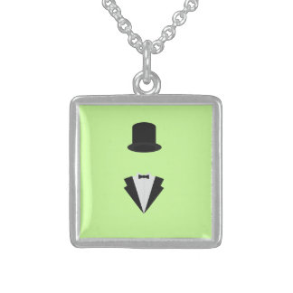 top-hat and smoking square pendant necklace