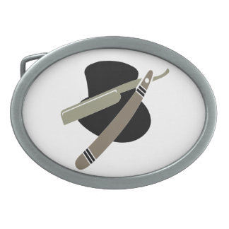 Top hat and straight razor belt buckle