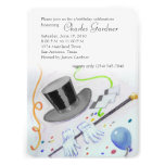 Top Hat Cane and Gloves Birthday Invites