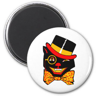 Top Hat Cat 2 Inch Round Magnet