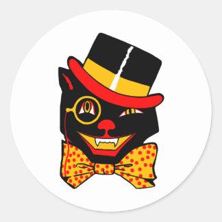 Top Hat Cat Classic Round Sticker