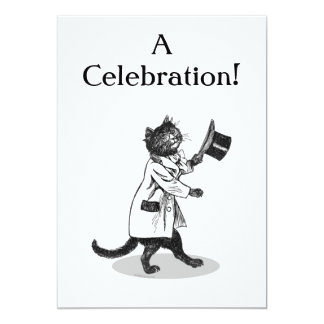 Top Hat Cat Custom Invitation Template