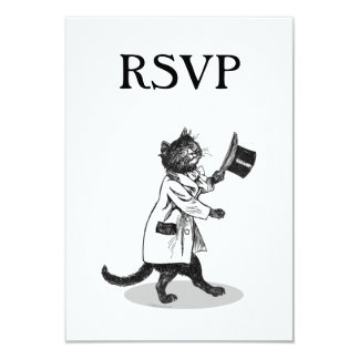 Top Hat Cat Custom RSVP Invitation