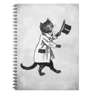 Top Hat Cat Vintage Art Faux Canvas Notebook