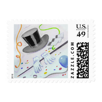 Top Hat Gloves and Cane with Balloons Stamp