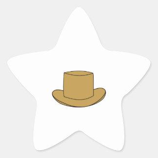 Top Hat illustration. Brown. Star Sticker