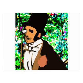 top hat Man Postcard