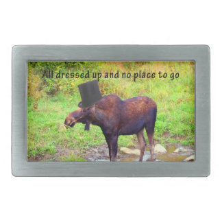 Top Hat Moose Rectangular Belt Buckle