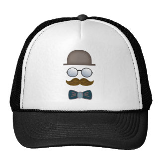 Top Hat, Moustache, Glasses and Bow Tie Trucker Hat