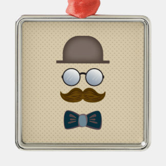 Top Hat, Moustache, Glasses and Bow Tie Metal Ornament