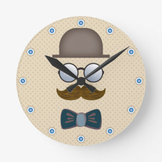 Top Hat, Moustache, Glasses and Bow Tie Round Clock