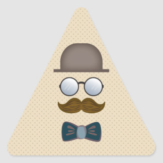 Top Hat, Moustache, Glasses and Bow Tie Triangle Sticker