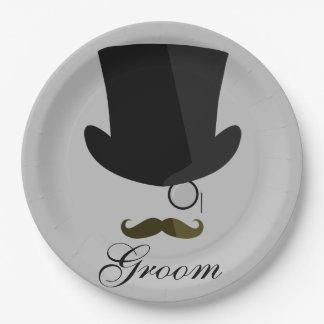 Top Hat, Mustache, Monocle - Paper Plates