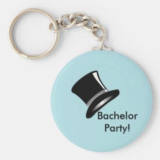 Top Hat on Blue Basic Round Button Keychain
