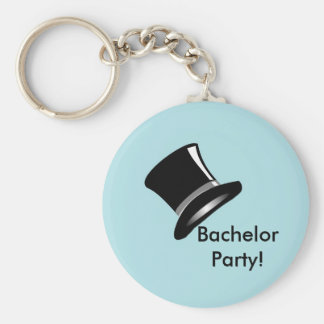 Top Hat on Blue Keychain
