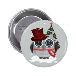 Top Hat Owl - Christmas (2) 2 Inch Round Button