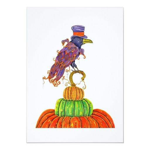 Top Hat Raven Halloween Invitation