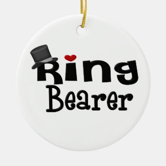 Top Hat Ring Bearer Double-Sided Ceramic Round Christmas Ornament