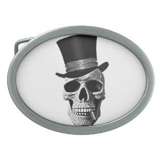 Top hat skull belt buckle