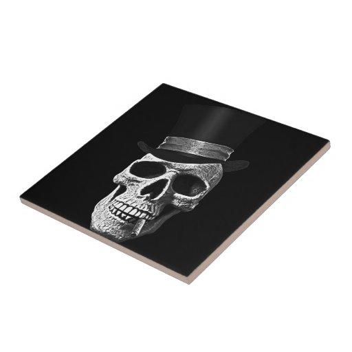 Top hat skull ceramic tiles